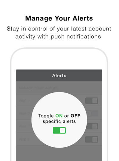 Manage Your Alerts - Stay in control of your latest account activity with push notifications.