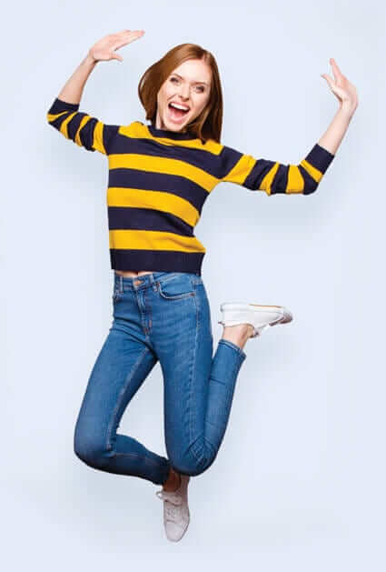 Picture of woman jumping with excitement for YouFirst Checking