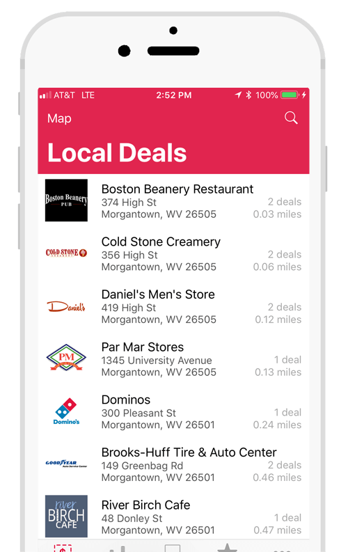 Screenshot of local deals on the YouFirst app